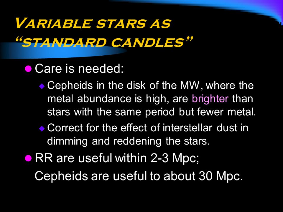 Variable stars as standard candles