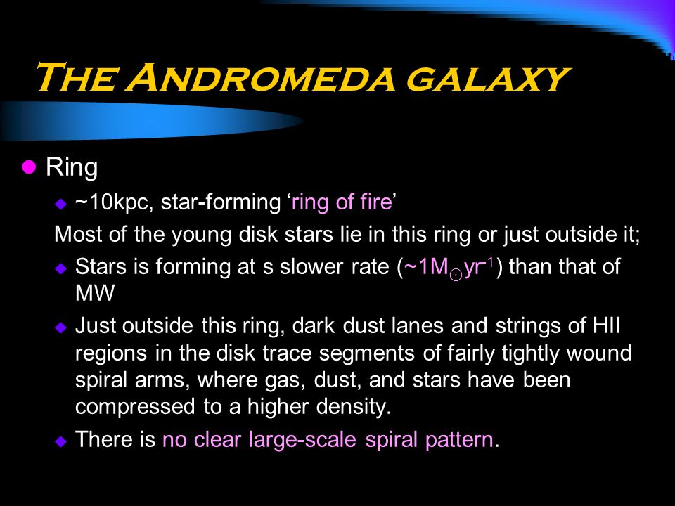 The Andromeda galaxy Ring ~10kpc, star-forming 'ring of fire'