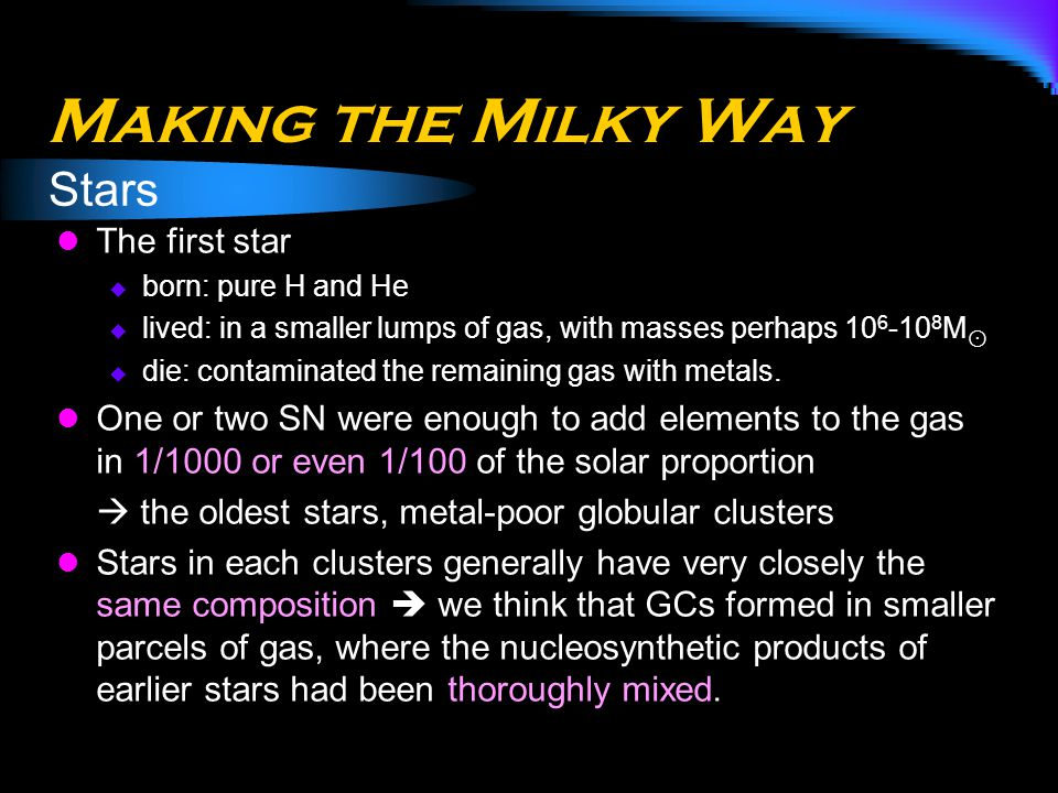 Making the Milky Way Stars The first star