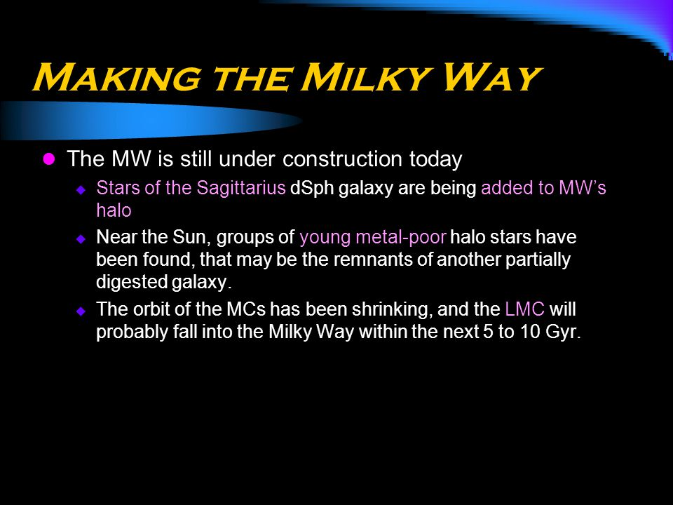 Making the Milky Way The MW is still under construction today
