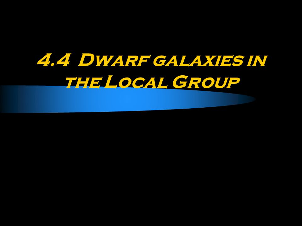 4.4 Dwarf galaxies in the Local Group