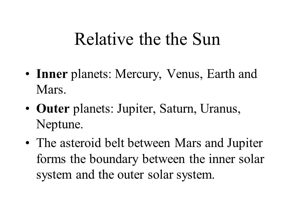 Relative the the Sun Inner planets: Mercury, Venus, Earth and Mars.