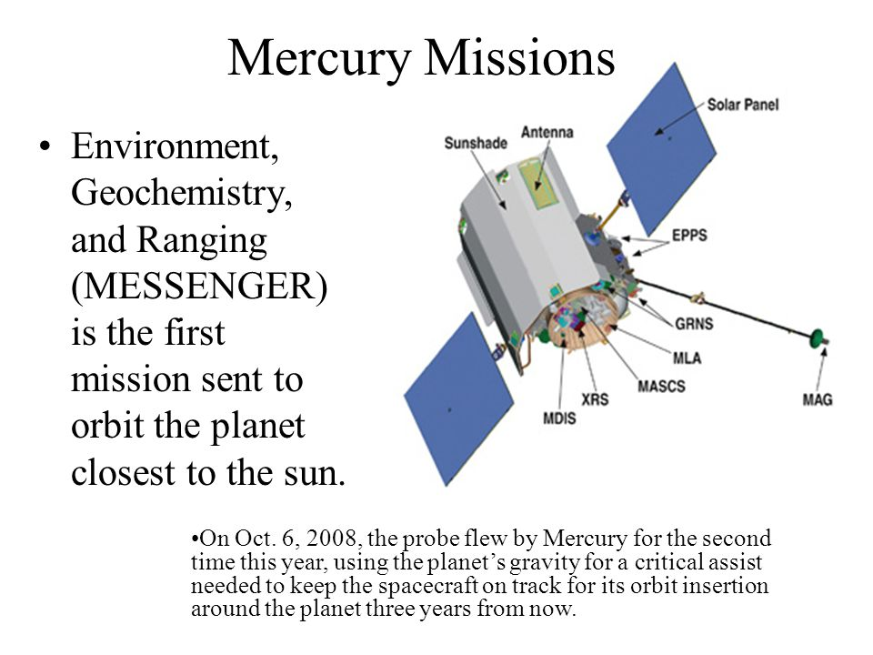 Mercury Missions Environment, Geochemistry, and Ranging (MESSENGER) is the first mission sent to orbit the planet closest to the sun.
