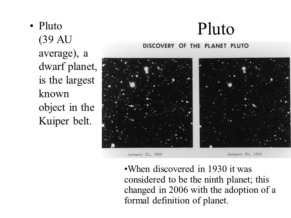 Pluto Pluto (39 AU average), a dwarf planet, is the largest known object in the Kuiper belt.