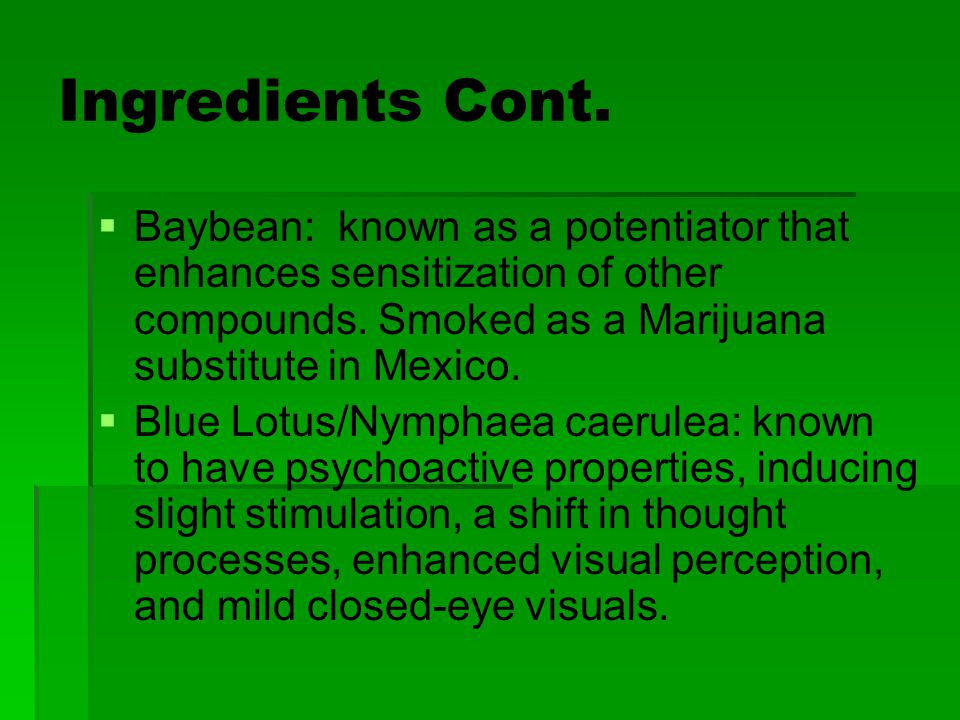 Ingredients Cont. Baybean: known as a potentiator that enhances sensitization of other compounds. Smoked as a Marijuana substitute in Mexico.