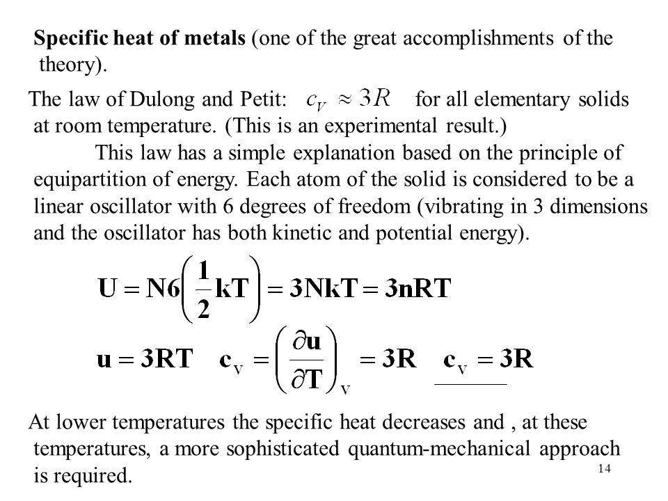 Specific heat of metals (one of the great accomplishments of the