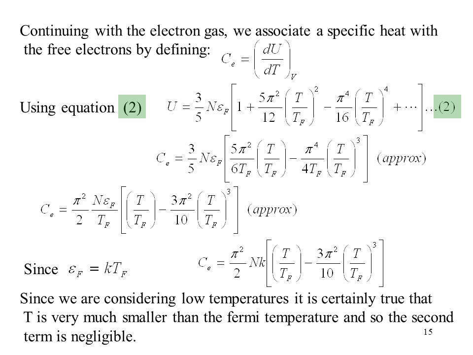 Continuing with the electron gas, we associate a specific heat with