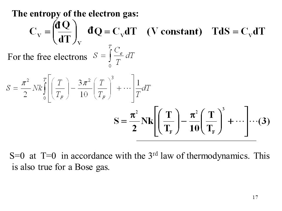 đ đ The entropy of the electron gas: For the free electrons