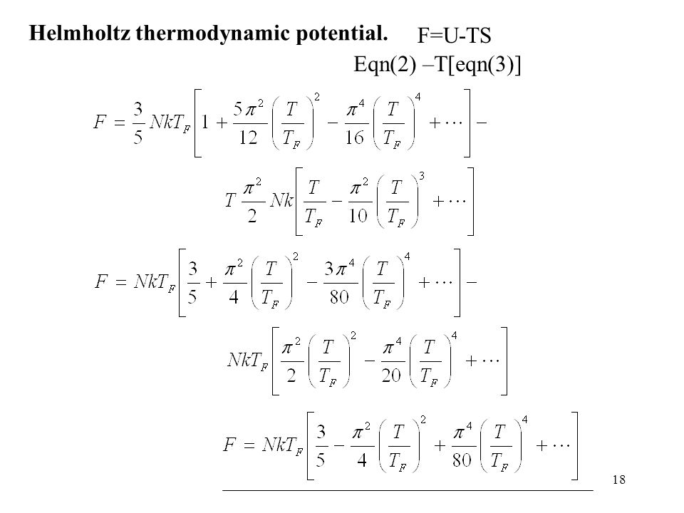 Helmholtz thermodynamic potential.