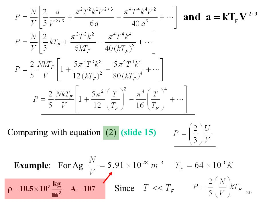 Comparing with equation (2) (slide 15)