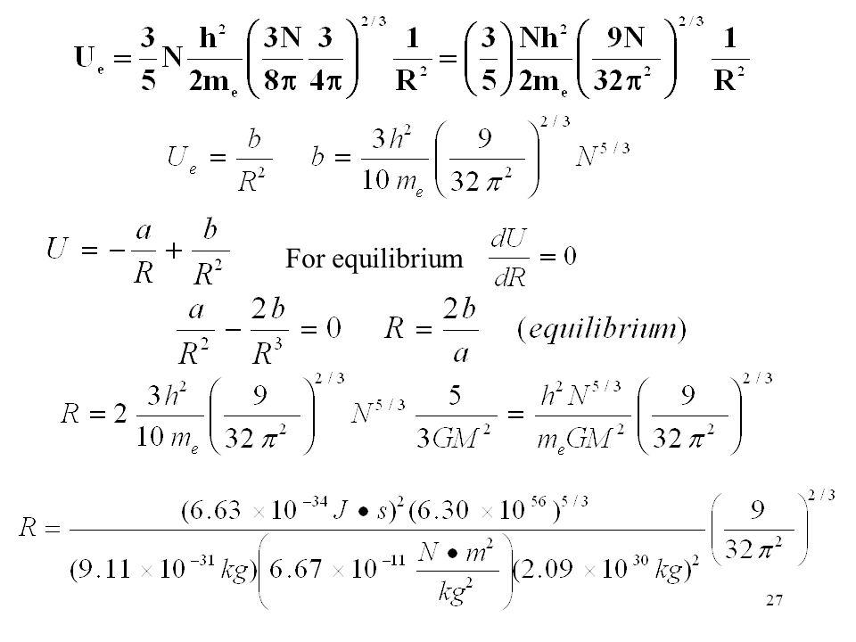 For equilibrium