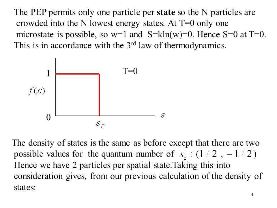 The PEP permits only one particle per state so the N particles are