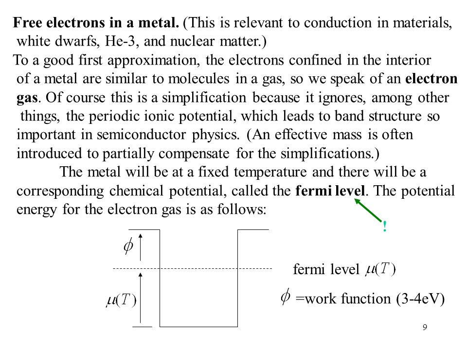 Free electrons in a metal