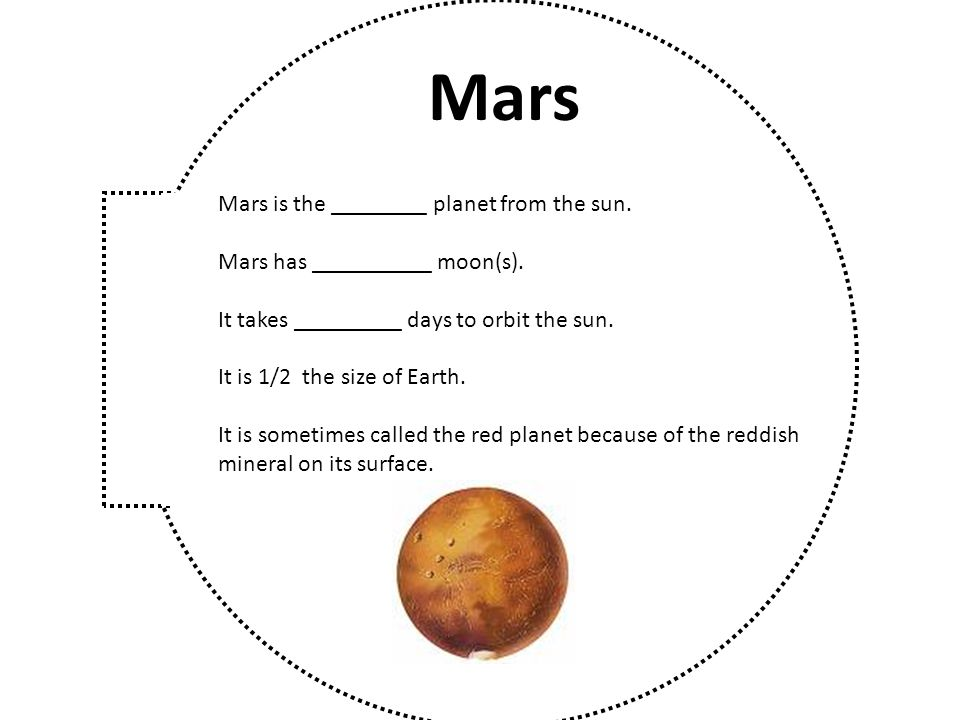 Mars Mars is the ________ planet from the sun.