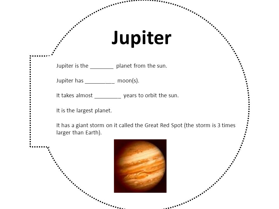 Jupiter Jupiter is the ________ planet from the sun.