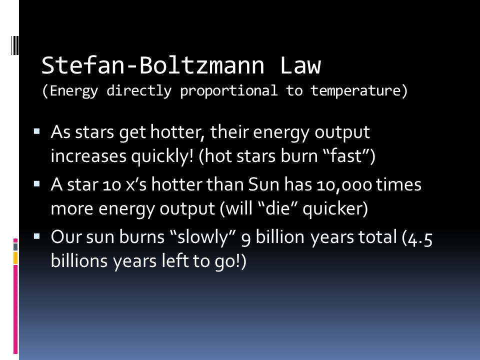 Stefan-Boltzmann Law (Energy directly proportional to temperature)
