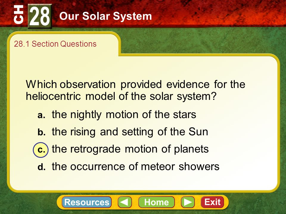 28 Our Solar System. 28.1 Section Questions. Which observation provided evidence for the heliocentric model of the solar system