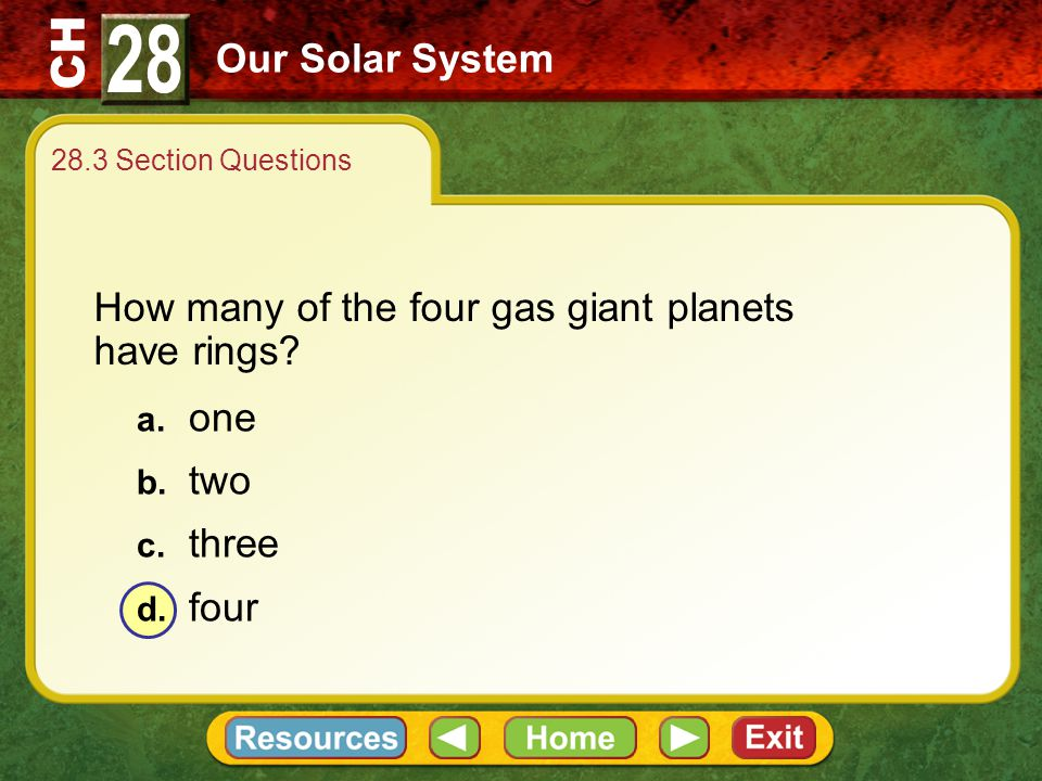 28 Our Solar System How many of the four gas giant planets have rings