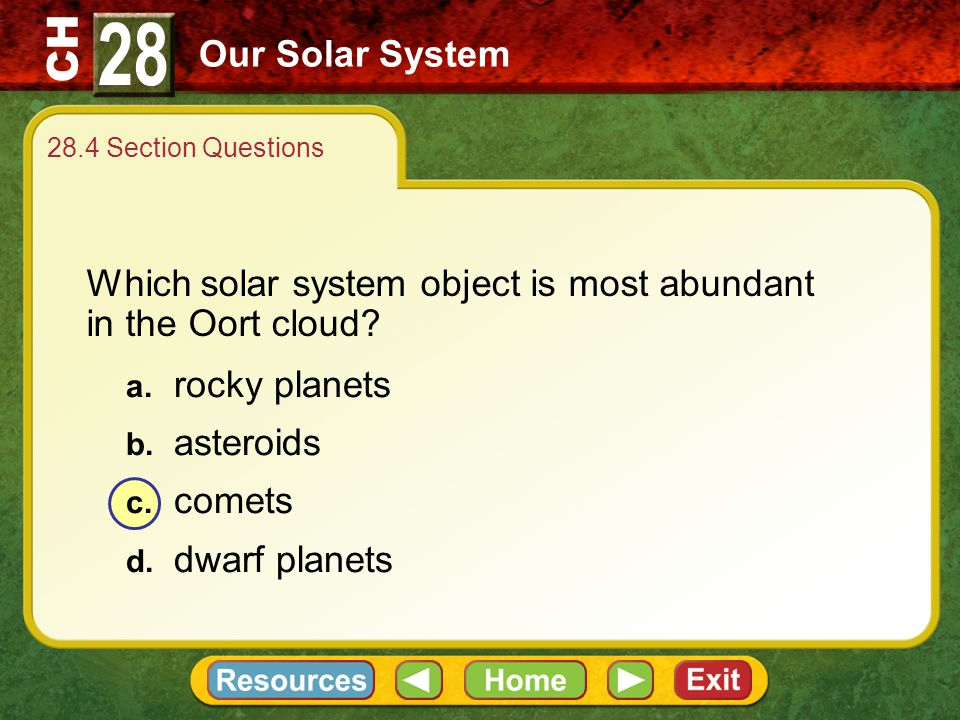 28 Our Solar System. 28.4 Section Questions. Which solar system object is most abundant in the Oort cloud