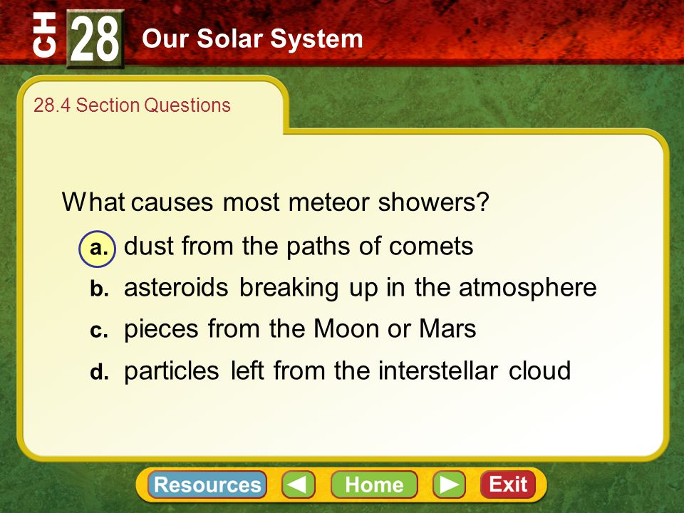 28 Our Solar System What causes most meteor showers