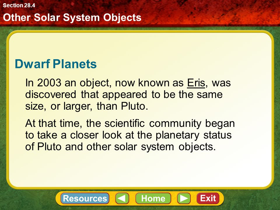 Section 28.4 Other Solar System Objects. Dwarf Planets.