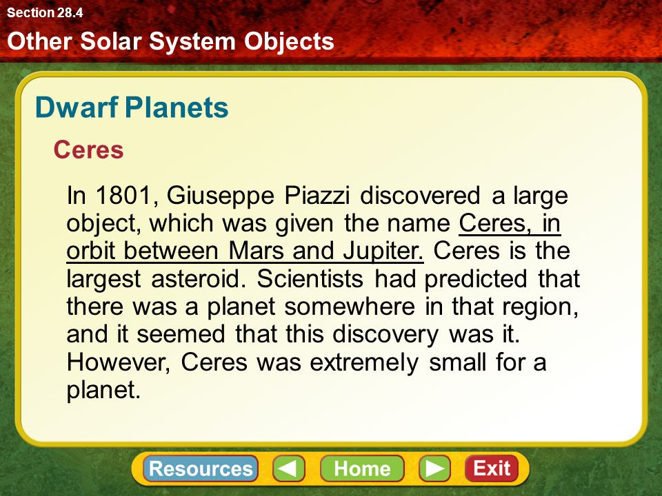 Section 28.4 Other Solar System Objects. Dwarf Planets. Ceres.