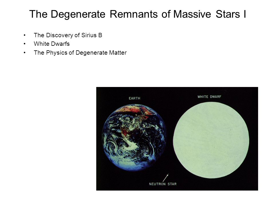 The Degenerate Remnants of Massive Stars I