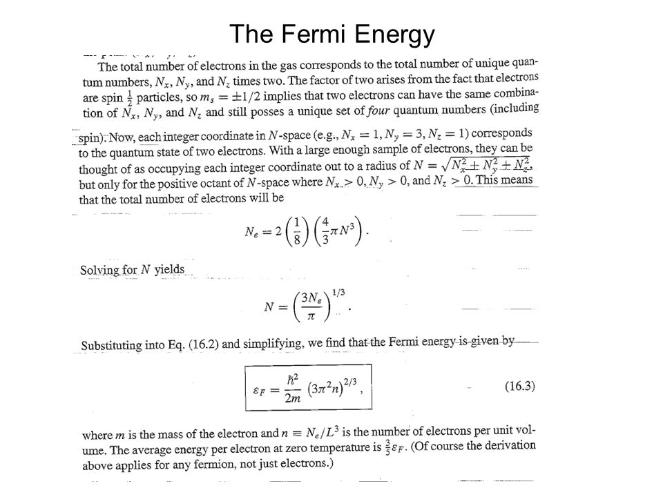 The Fermi Energy