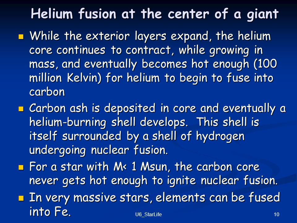 Helium fusion at the center of a giant