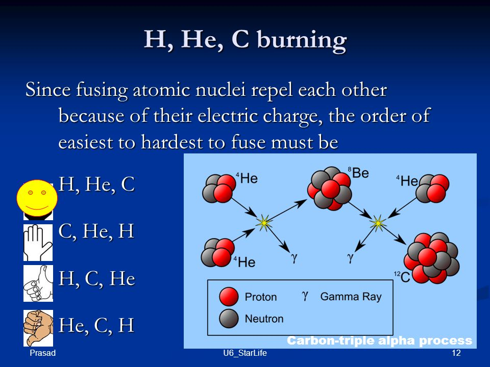 H, He, C burning Since fusing atomic nuclei repel each other because of their electric charge, the order of easiest to hardest to fuse must be.