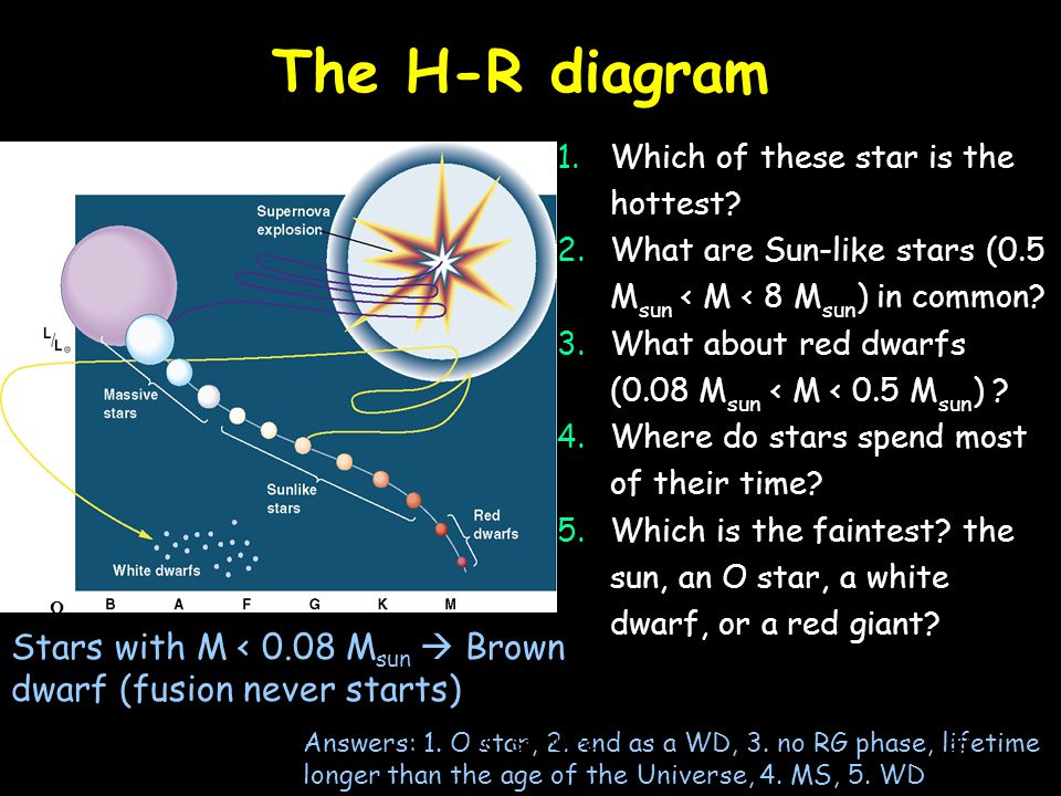 The H-R diagram Which of these star is the hottest What are Sun-like stars (0.5 Msun < M < 8 Msun) in common