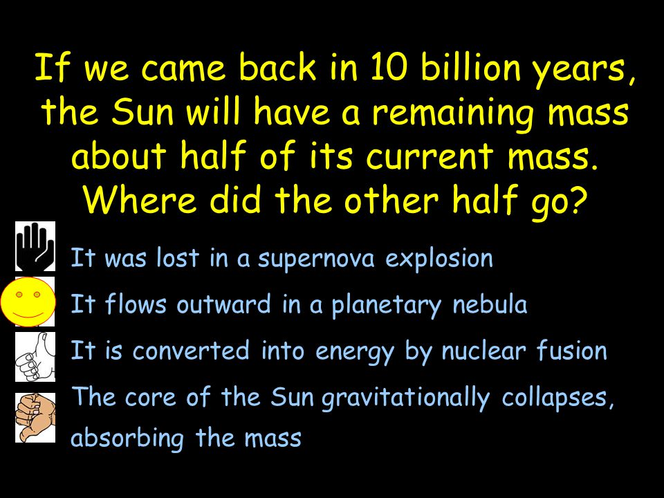 If we came back in 10 billion years, the Sun will have a remaining mass about half of its current mass. Where did the other half go