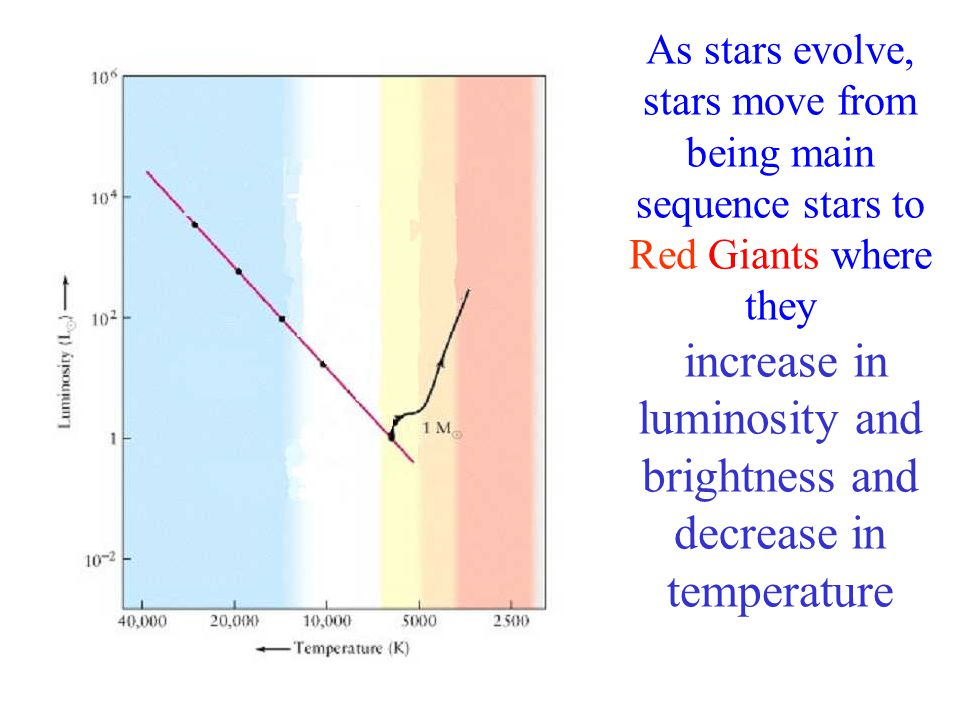As stars evolve, stars move from being main sequence stars to Red Giants where they increase in luminosity and brightness and decrease in temperature