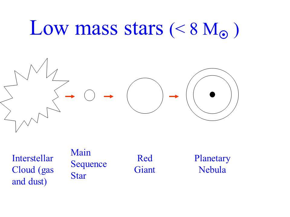 Low mass stars (< 8 M )