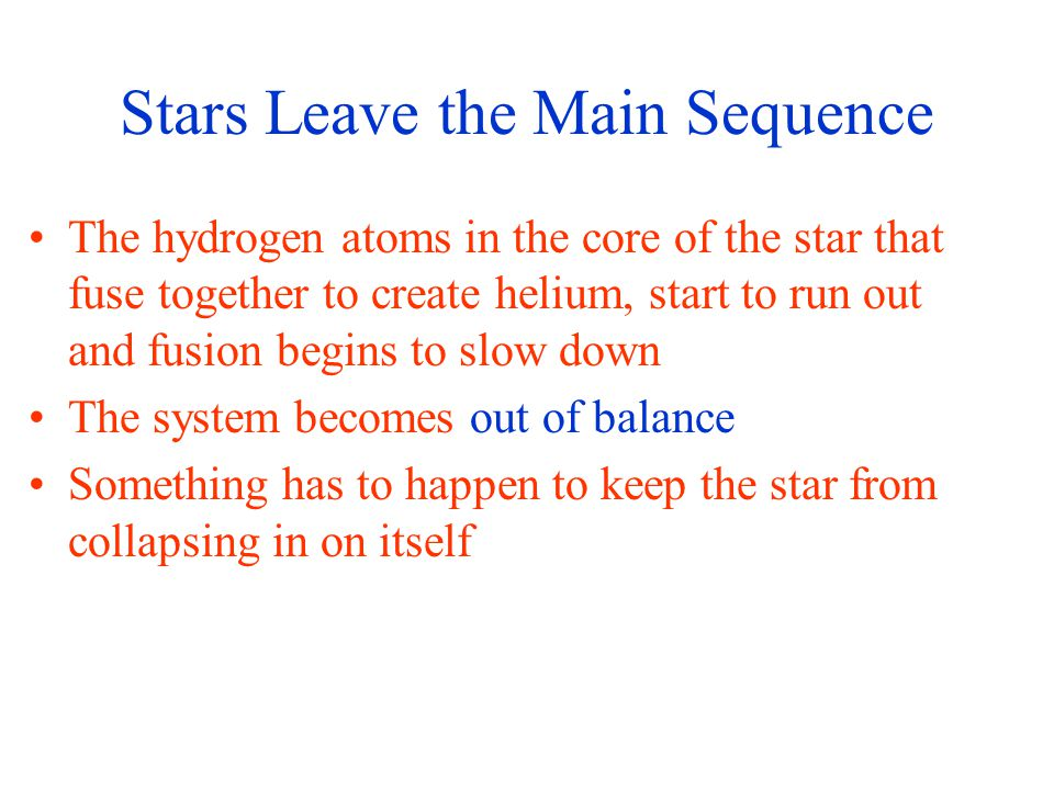 Stars Leave the Main Sequence