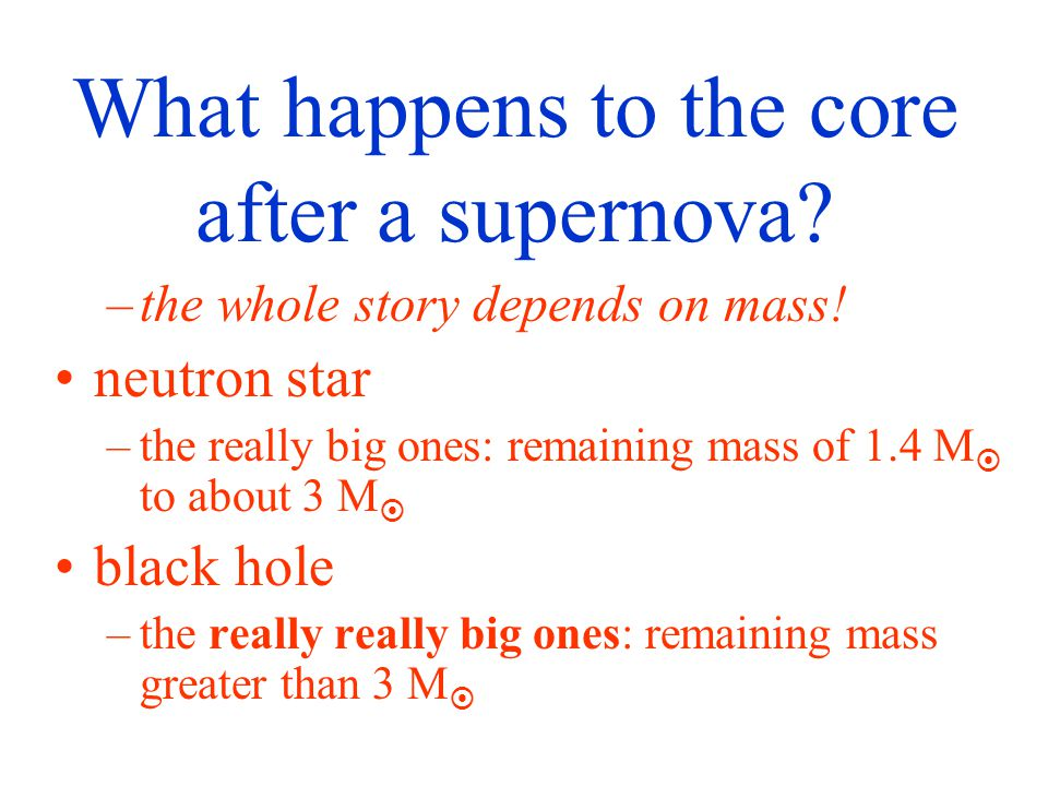 What happens to the core after a supernova