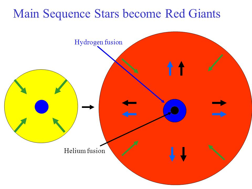 Main Sequence Stars become Red Giants
