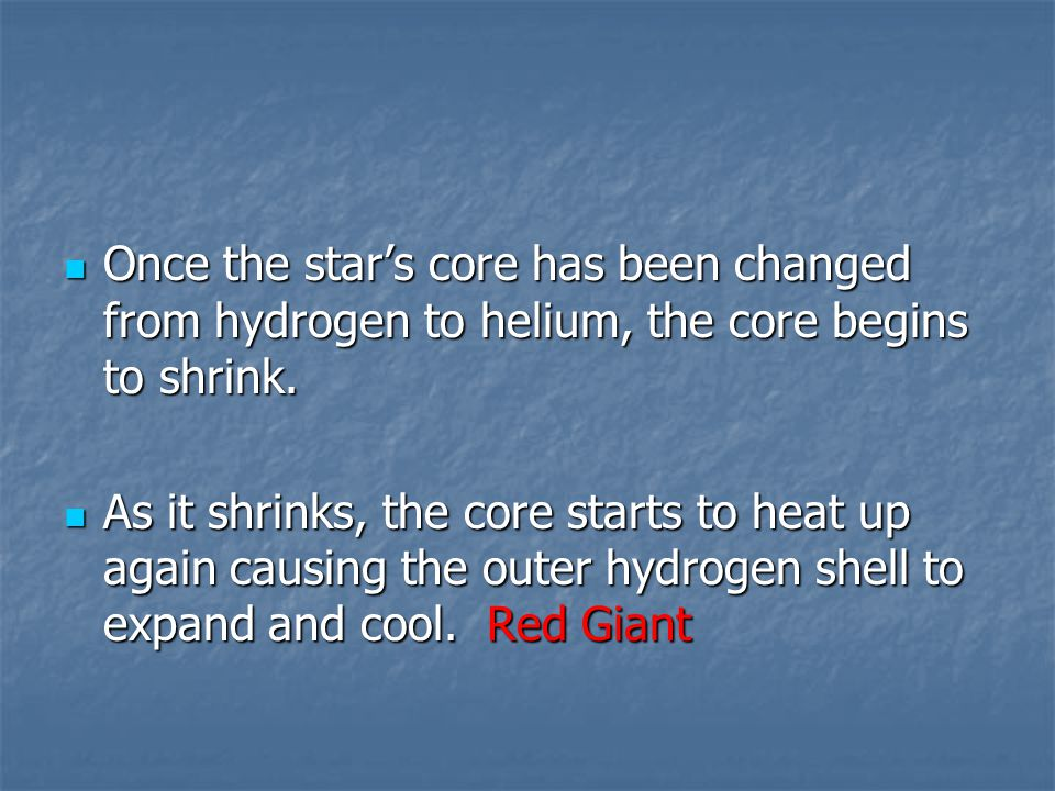Once the star's core has been changed from hydrogen to helium, the core begins to shrink.