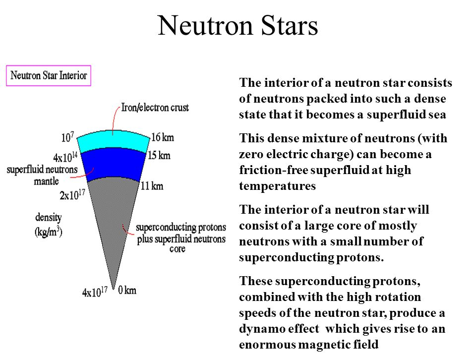 Neutron Stars The interior of a neutron star consists of neutrons packed into such a dense state that it becomes a superfluid sea.