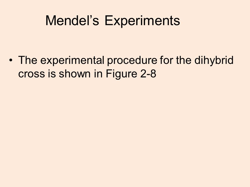 Mendel's Experiments The experimental procedure for the dihybrid cross is shown in Figure 2-8
