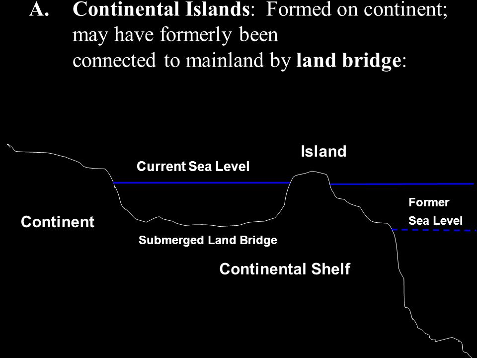 Continental Islands: Formed on continent; may have formerly been connected to mainland by land bridge: