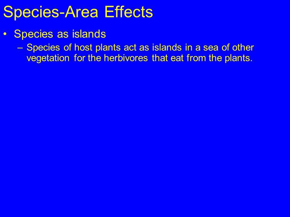 Species-Area Effects Species as islands