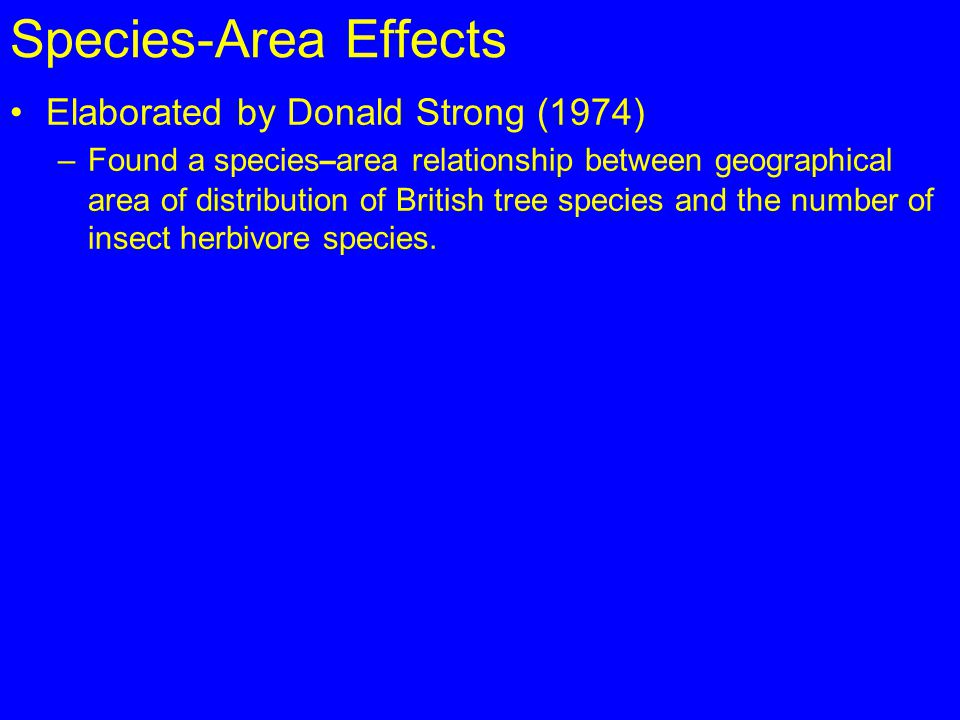 Species-Area Effects Elaborated by Donald Strong (1974)