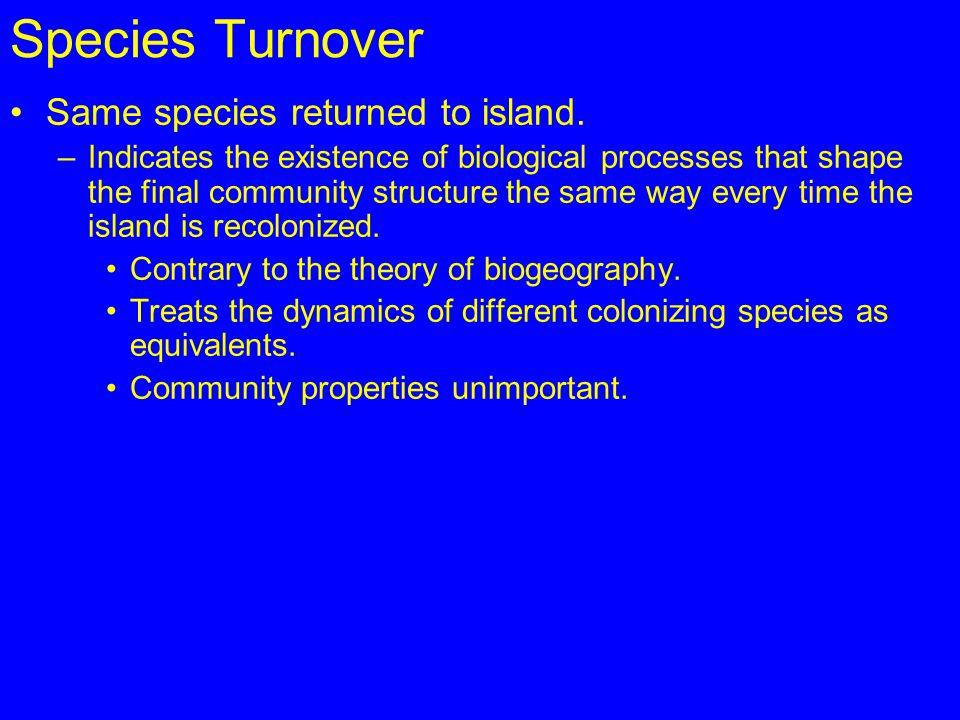 Species Turnover Same species returned to island.
