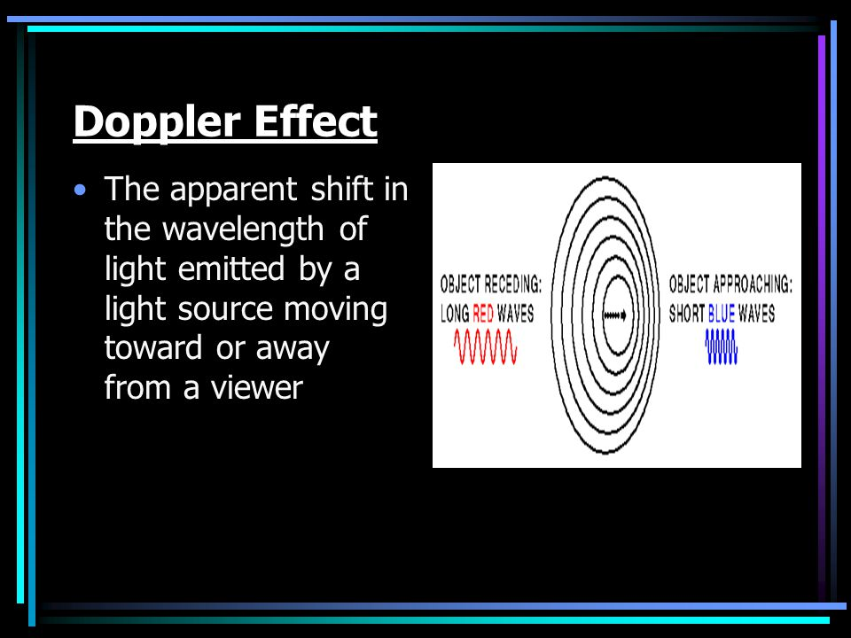 Doppler Effect The apparent shift in the wavelength of light emitted by a light source moving toward or away from a viewer.
