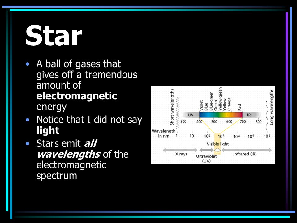 Star A ball of gases that gives off a tremendous amount of electromagnetic energy. Notice that I did not say light.
