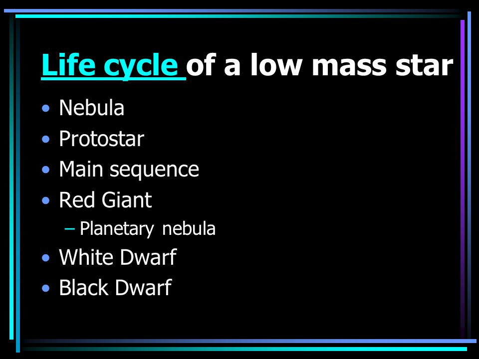 Life cycle of a low mass star