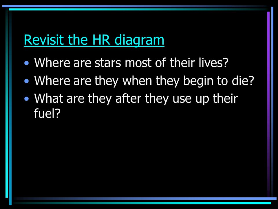 Revisit the HR diagram Where are stars most of their lives
