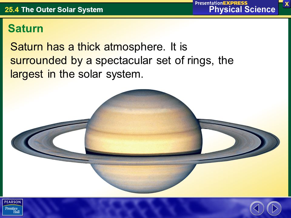 Saturn Saturn has a thick atmosphere.