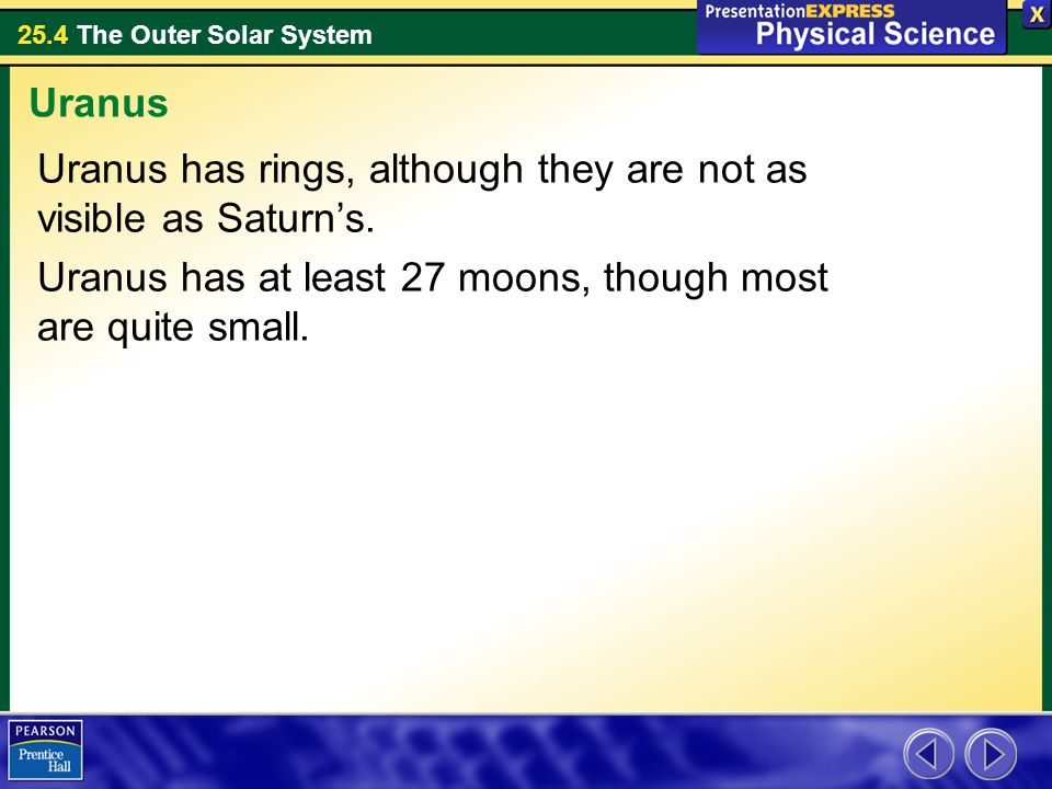 Uranus Uranus has rings, although they are not as visible as Saturn's.